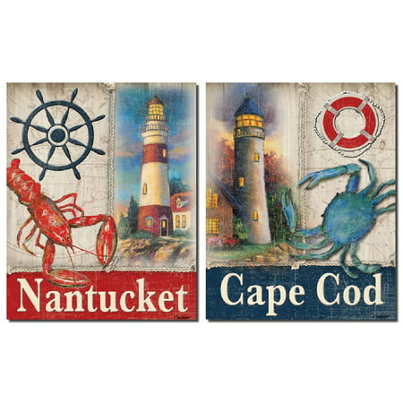 Nantucket Nautical Painting (Nautical Nantucket Lobster and Cape Cod Crab Sign; Two 11x14 Poster Prints)