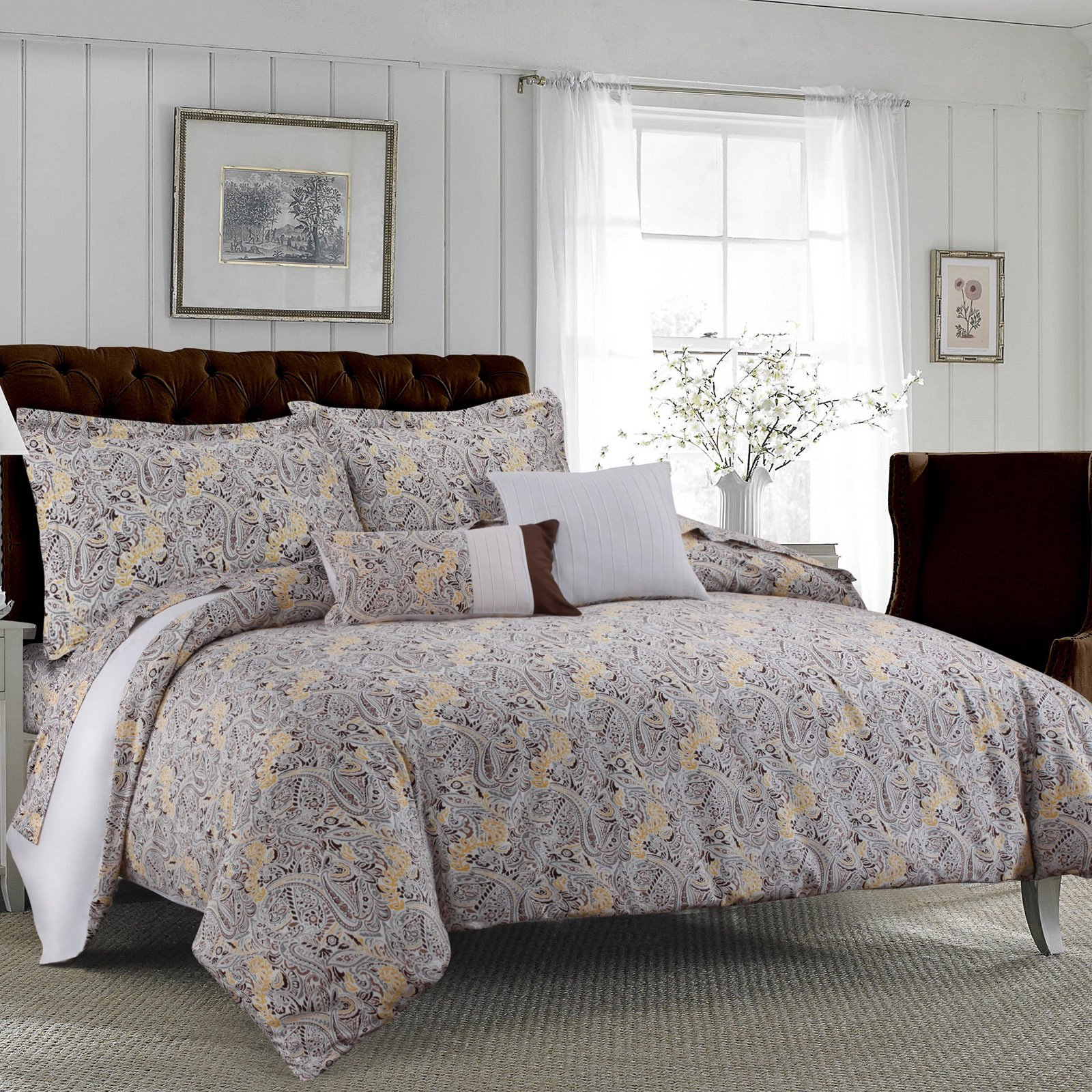 Tribeca Living Fiji 300TC Egyptian Cotton Sateen 5-Piece Duvet Set