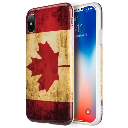 MUNDAZE Vintage Look Canada Flag Design TPU Case For Apple iPhone X Phone
