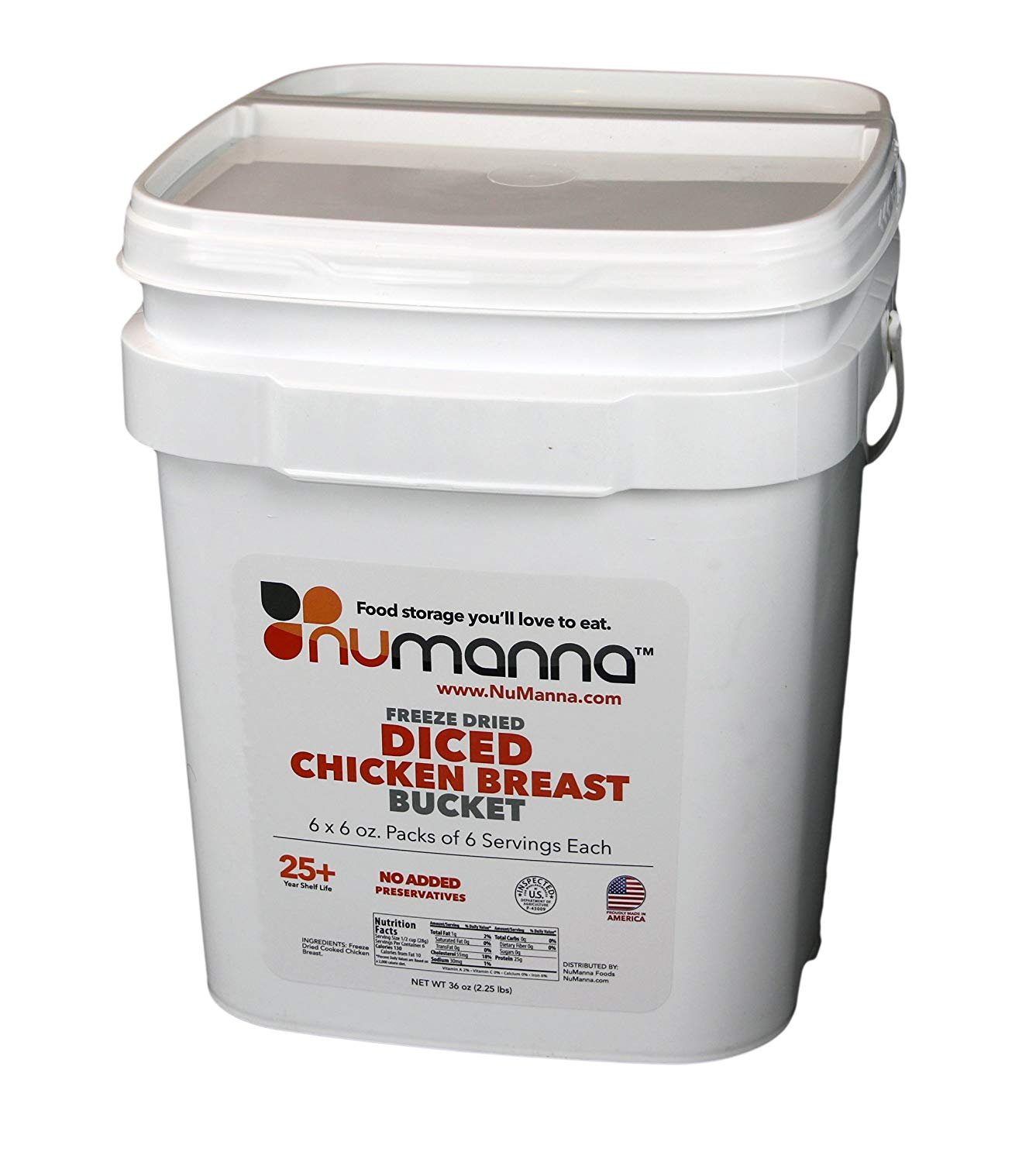 NuManna Seasoned Diced Chicken Breast Bucket, 36 Meals - Emergency Survival Food Storage Kit, Separate Rations, in a Bucket, 25 Plus Year Shelf Life, GMO-Free