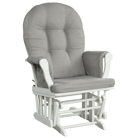 Angel Line Windsor Glider, White w/ Gray Cushion