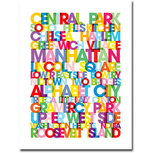 "Trademark Art ""Manhattan Neighborhoods"" Canvas Wall Art by Michael Tompsett"