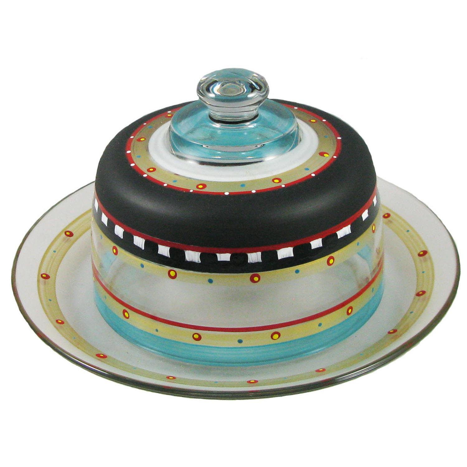 Mosaic Chalkboard and Stripes Hand Painted Glass Large Convertible Cake Dome 11""