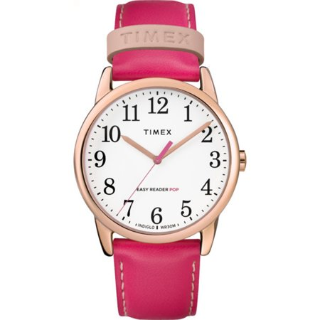 Timex Women's Easy Reader Color Pop 38mm Leather |Pink| Dress Watch TW2R99400 (Womens Timex Pink)