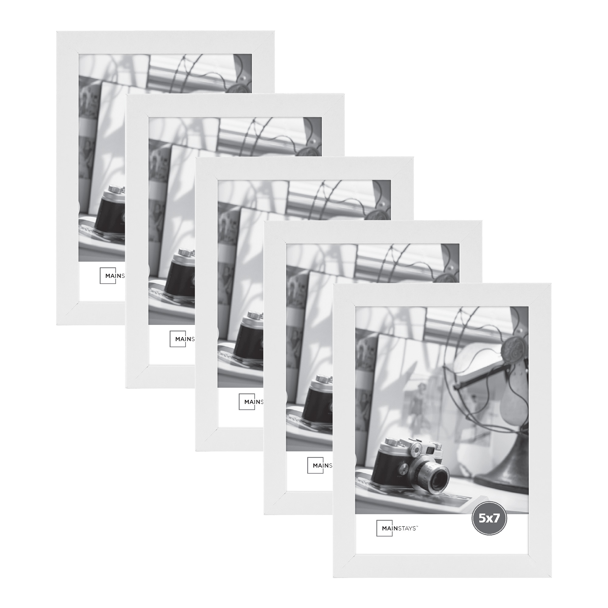 "Mainstays 5"" x 7"" White Wood Frame Set of Five"