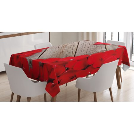 Cocoa Petal Dust (Rose Tablecloth, Vibrant Red Rose Petals on Wood Planks Forming a Heart Shape Romance Love Passion, Rectangular Table Cover for Dining Room Kitchen, 60 X 84 Inches, Vermilion Cocoa, by Ambesonne )