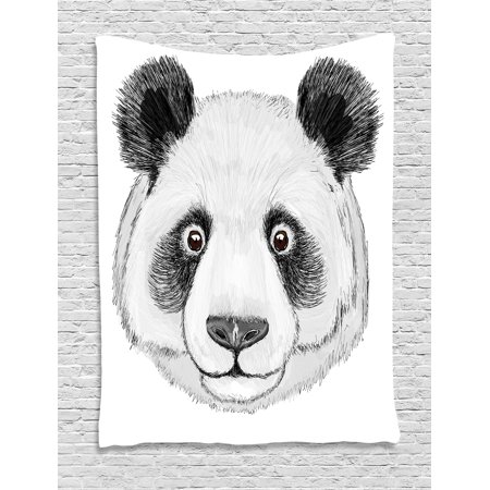Animal Tapestry, Asian Panda Fluffy Cute Fat Animal with Quote Hand Drawn Image Art, Wall Hanging for Bedroom Living Room Dorm Decor, 40W X 60L Inches, Black White and Lime Green, by