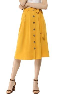 Women's Button Front High Waist Belted Midi A-Line Skirt XL Caramel