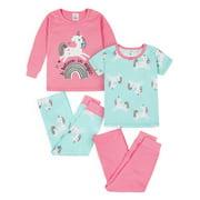 Gerber Baby & Toddler Girls Snug Fit Cotton Pajamas, 4pc Set (12M-5T)
