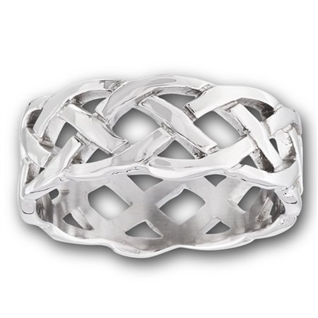 Wide Heavy Celtic Infinity Knot Wedding Ring New Stainless Steel Band Size (Wide Celtic Wedding Band)
