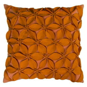 "Rizzy Home Decorative Poly Filled Throw Pillow Solid Botanical Petals 18""X18"" Orange"