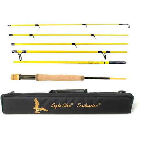 Eagle claw trailmaster fly rod 6 piece 8 39 6 medium fast for Fishing carts walmart