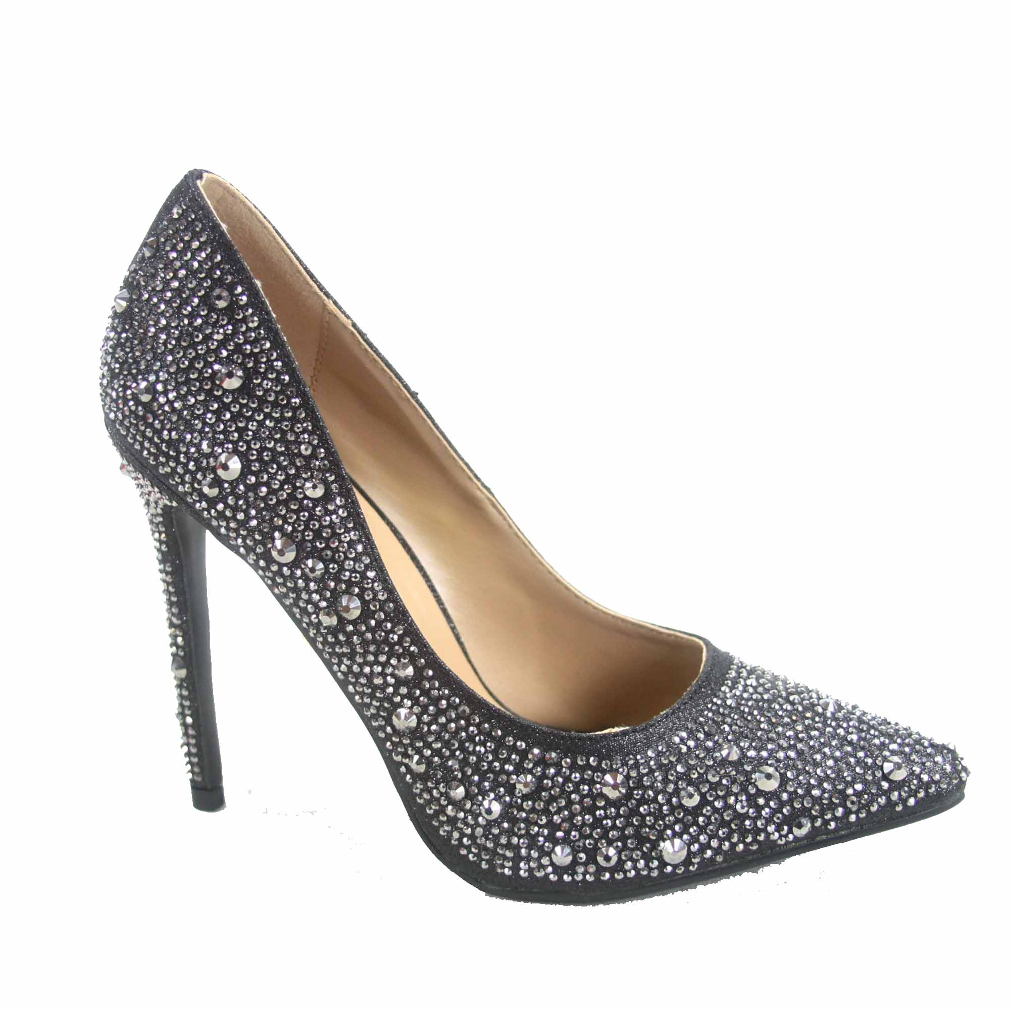 Belinda-96 Women's Rhinestone  Pointed Toe Stiletto High Heel Pump Bridal Shoes