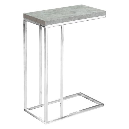 MONARCH - ACCENT TABLE - GREY CEMENT WITH CHROME METAL ()