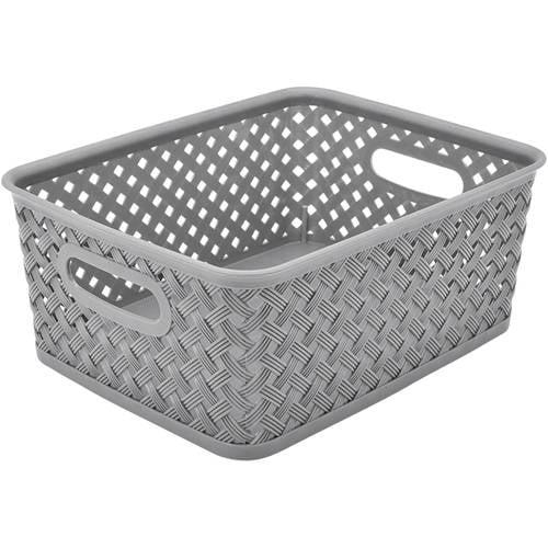 "Resin Wicker Storage Tote, Small, 10"" x 8"" x 4"", Basket Weave"