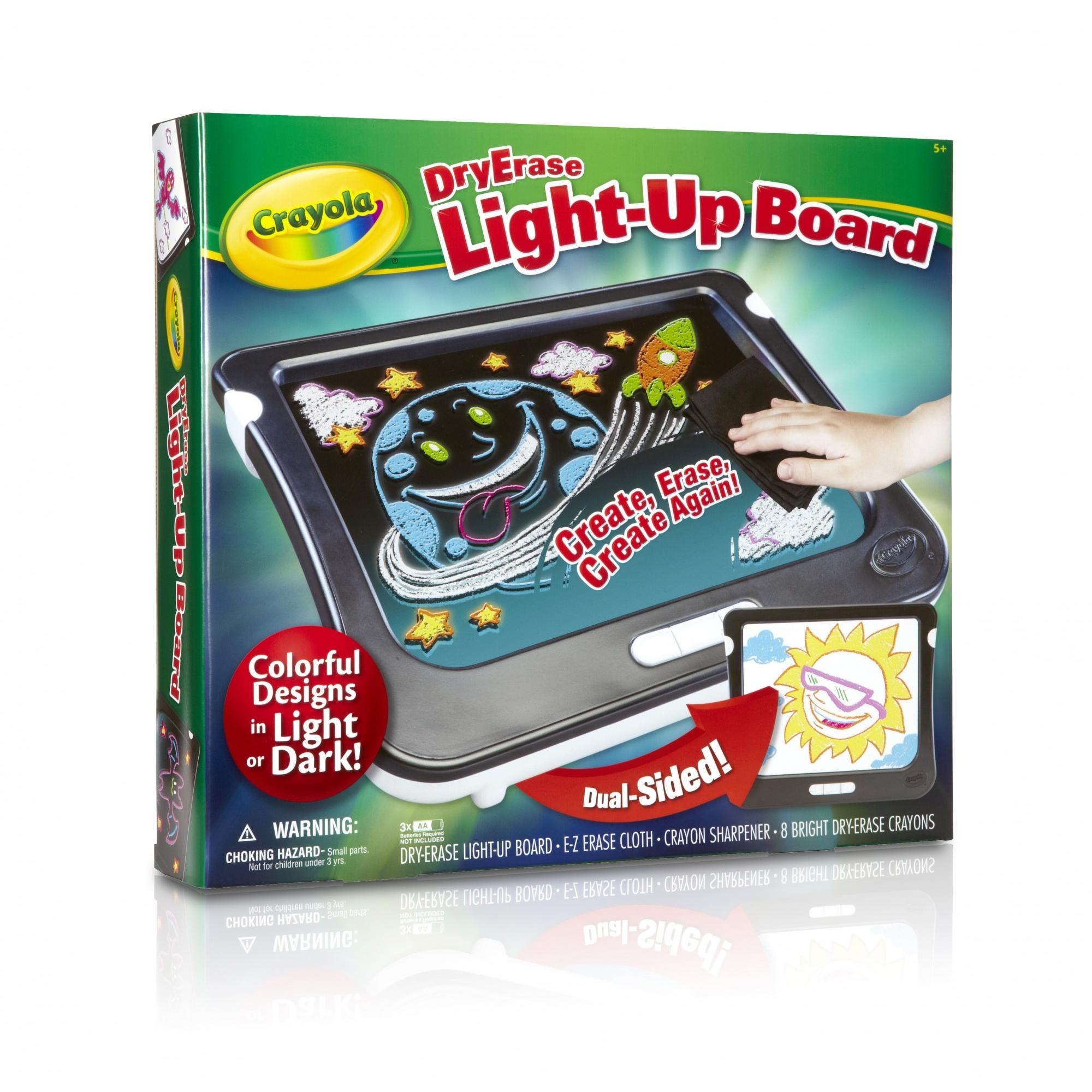 Crayola Dry Erase Light Up Board, Drawing And Coloring Tablet, Gift For Kids, 11 Pieces