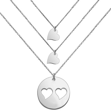 Mother Daughter Necklaces (Myospark Mother and Daughters Necklace Set- Mom and Daughter Jewelry- Gift for Mom- Mother's Day Gift(Silver mom and 2)
