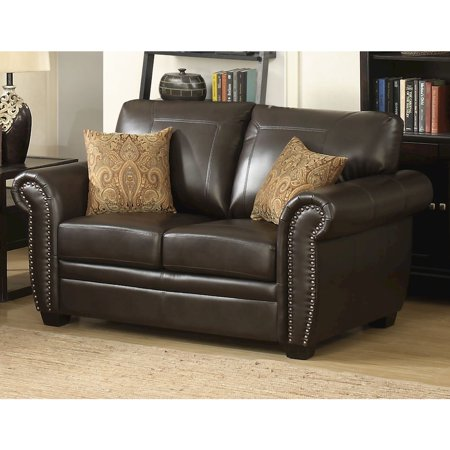 Louis Collection Traditional Upholstered Leather Loveseat with Antique Brass Nail Head Trim and 2 Accent Pillows, Brown