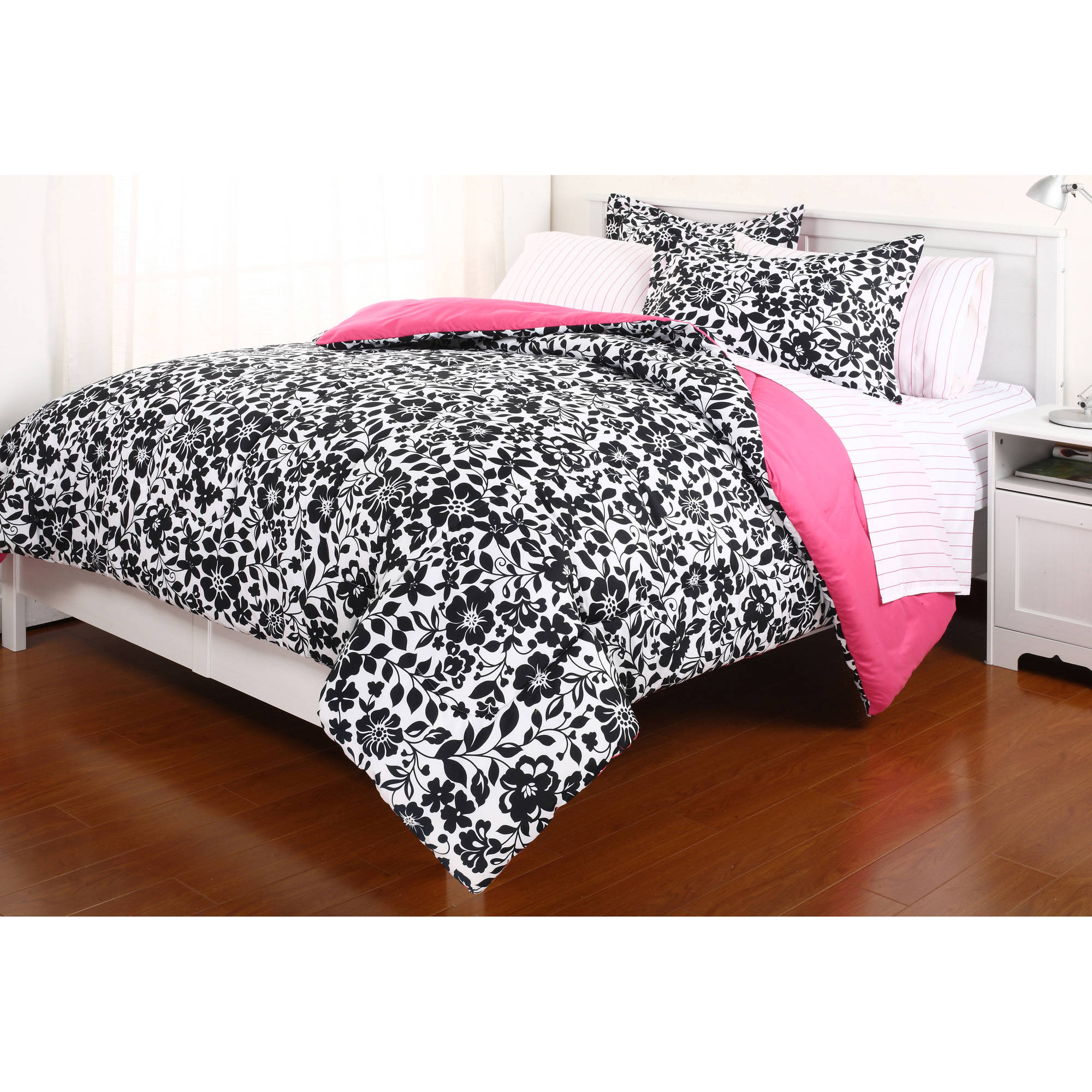 Piece Rochelle Pinched Pleat Bed in a Bag Set Walmart