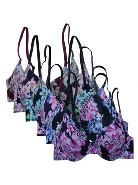b872aa857187d Product Image Women s 6-Pack Laser Cut Assorted Floral Cheetah Print Push  Up Bras - 32B