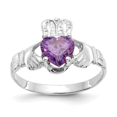 14K White Gold February Birthstone Claddagh (White Gold Claddagh Ring)