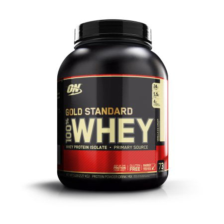 Optimum Nutrition Gold Standard 100% Whey Protein Powder, Vanilla Ice Cream, 24g Protein, 5 Lb Bag Ice 10 Lb Printed