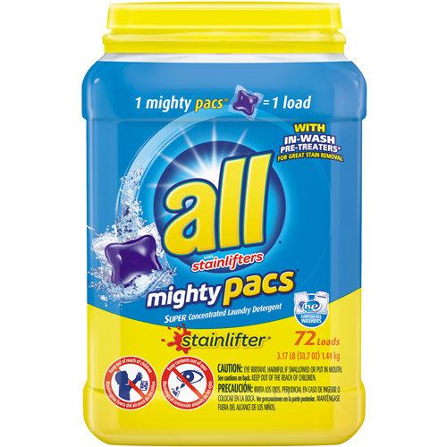 All with Stainlifters Mighty Pacs Super Concentrated Laundry Detergent, 72 count, 50.7 oz
