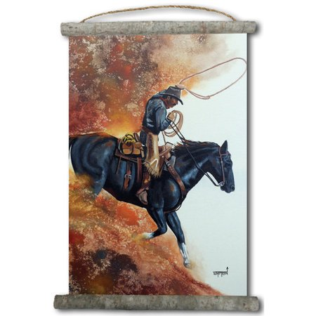 Coated Canvas Black Leather - WGI-GALLERY 'Hell Bent For Leather' Painting Print on White Canvas