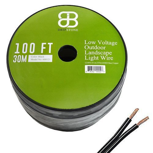 Dripstone 100ft LOW VOLTAGE 12/2 OUTDOOR LIGHTING WIRE COPPER LANDSCAPE CABLE 12AWG