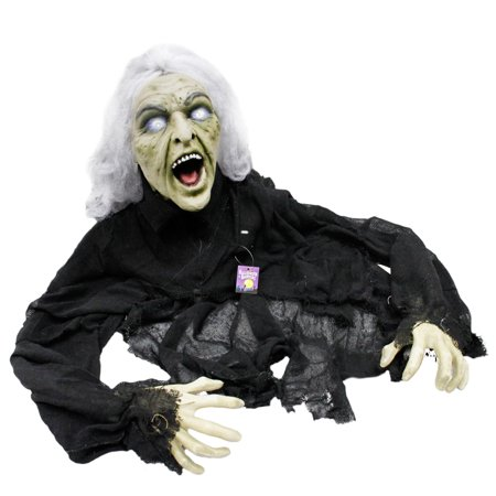 Halloween 5' Animated Creepy Crawling Evil Zombie Witch Prop Decoration, Laughs - Halloween Window Decorations Eyes