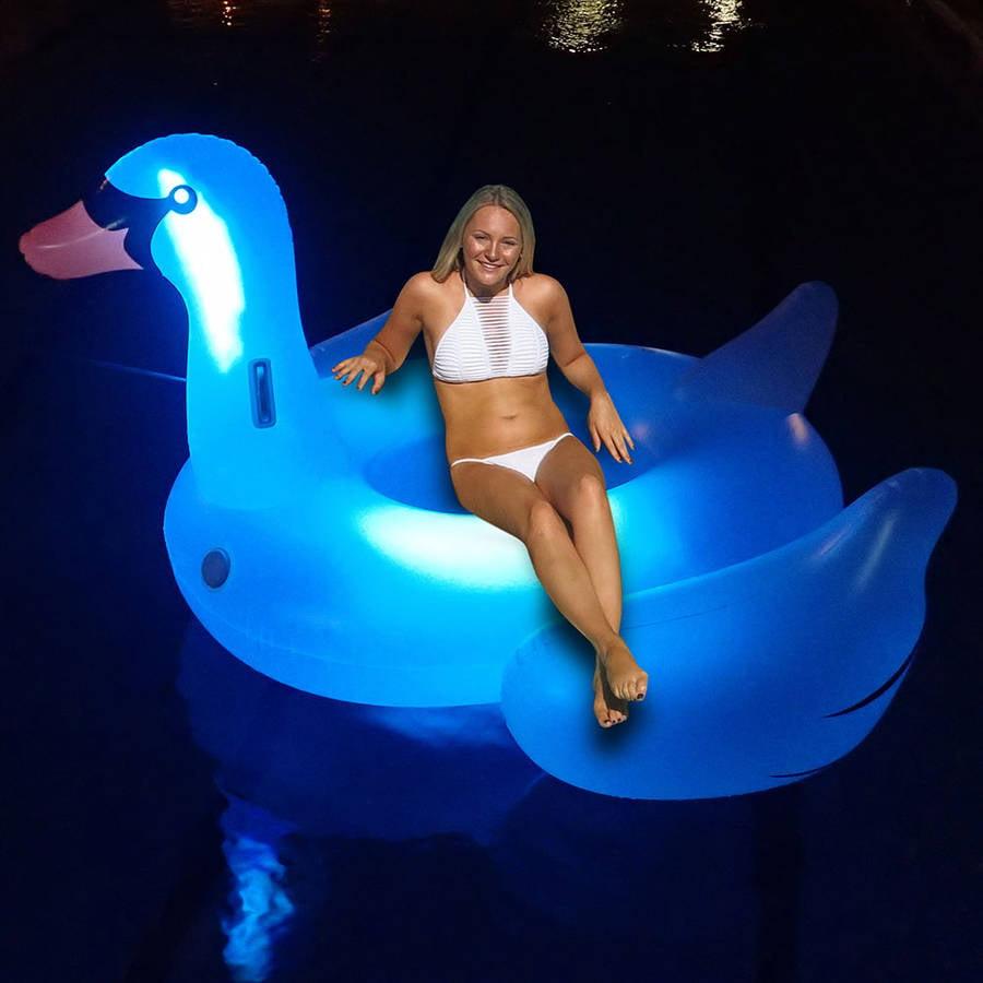 Swimline Giant LED Light-Up Swan Float for Swimming Pools