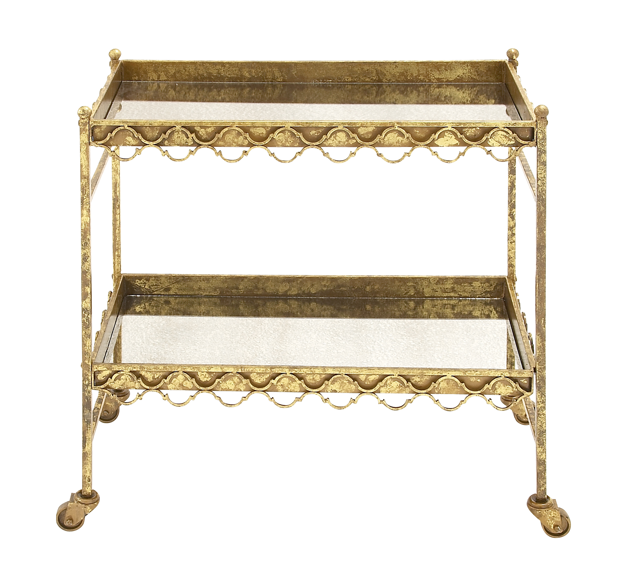 Decmode Traditional 32 X 30 Inch Distressed Gold Iron and Glass Two-Tier Bar Cart, Gold