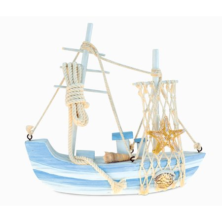CoTa Global Nautical Intricate Art Statue Wooden Ocean Breeze Beach Boat Theme D?cor Real Natural Wood Blue Mist Sailboat Handcrafted Hand-painted Wood Figurine Home Accent Accessories 7.75 Inch