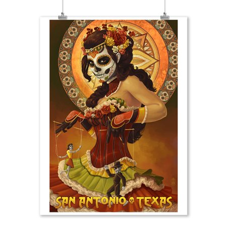 San Antonio Spurs Team Poster (San Antonio, Texas - Dia De Los Muertos Marionettes - Lantern Press Artwork (9x12 Art Print, Wall Decor Travel Poster))