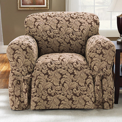 Sure Fit Scroll Brown Chair Slipcover by
