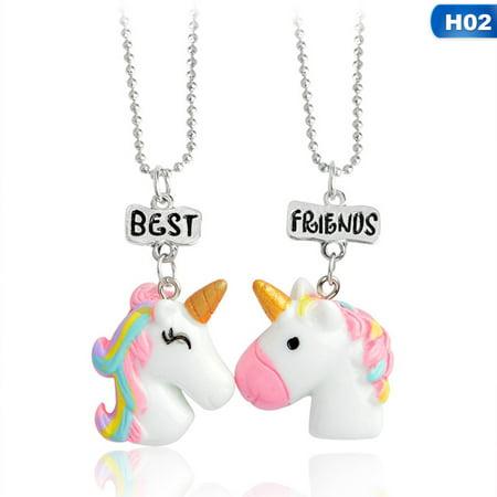 KABOER 2PCS Unicorn Best Friends Childrens Necklace Teens Girls 2 Necklaces