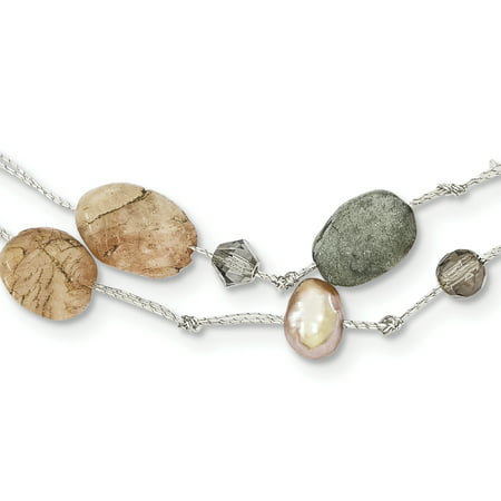 Labradorite/Red Moonstone/FW Cultured Pearl/Crystal Necklace QH2745-16