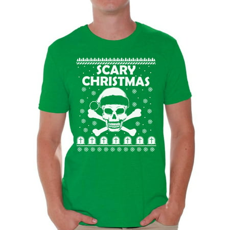 Awkward Styles Scary Christmas Shirt Santa Skull Men's Holiday Tee for Christmas Scary Christmas Skull Shirt Christmas T-shirt for Men Xmas Party Outfit Skull Christmas Holiday - Men Christmas Outfit