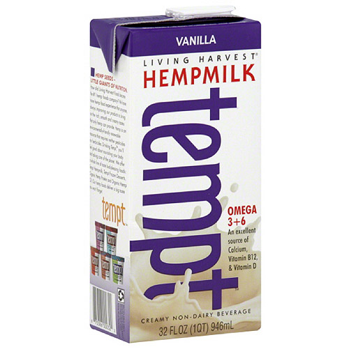 Living Harvest Tempt Creamy Vanilla Hemp Milk, 32 fl oz, (Pack of 12)