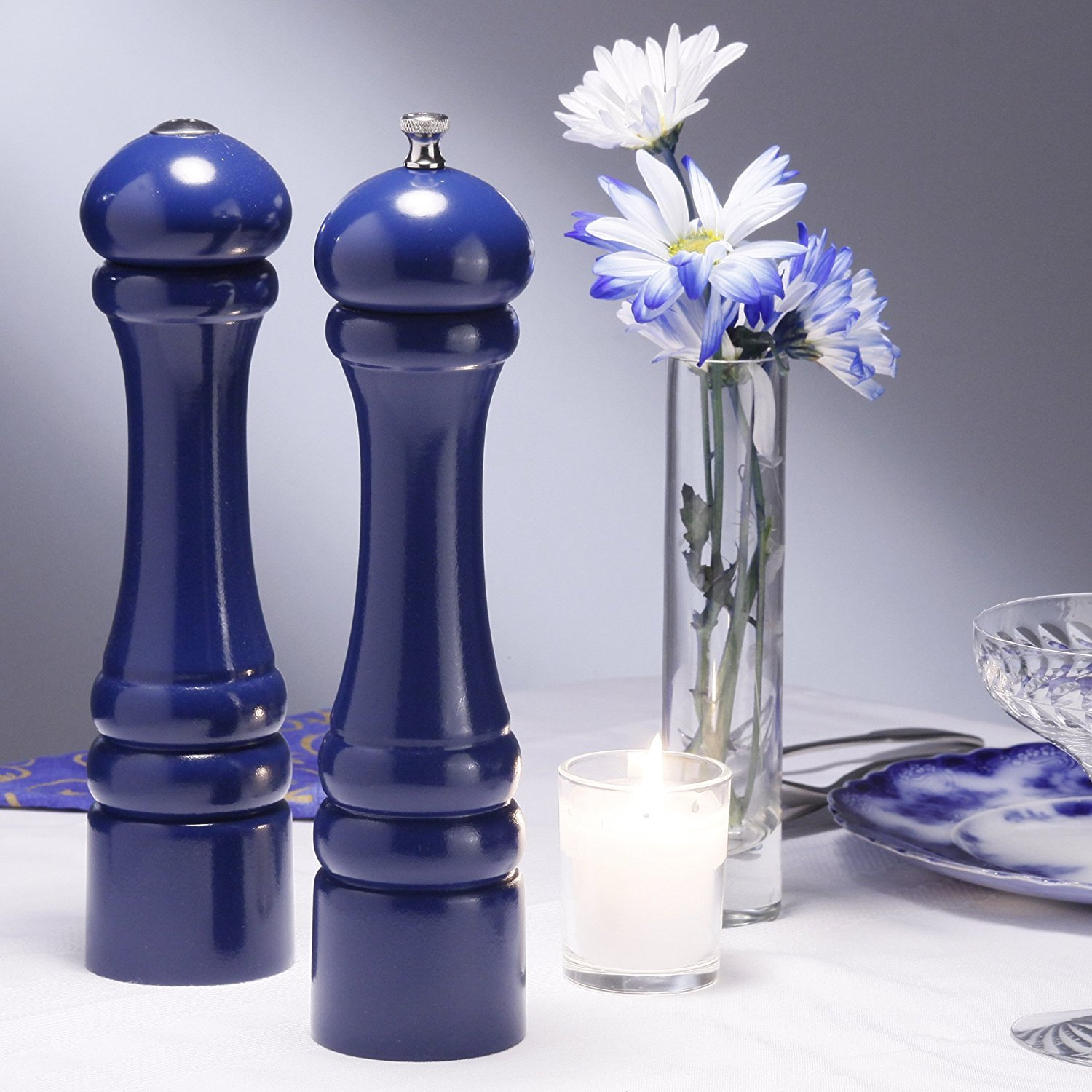 Chef Specialties 10 Inch Imperial Pepper Mill and Salt Shaker Set Cobalt Blue by Chef Specialties