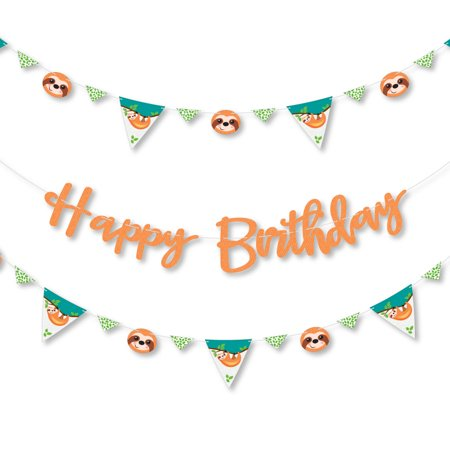 Let's Hang - Sloth - Birthday Party Letter Banner Decoration - 36 Banner Cutouts and Happy Birthday Banner Letters - Party Happy Birthday