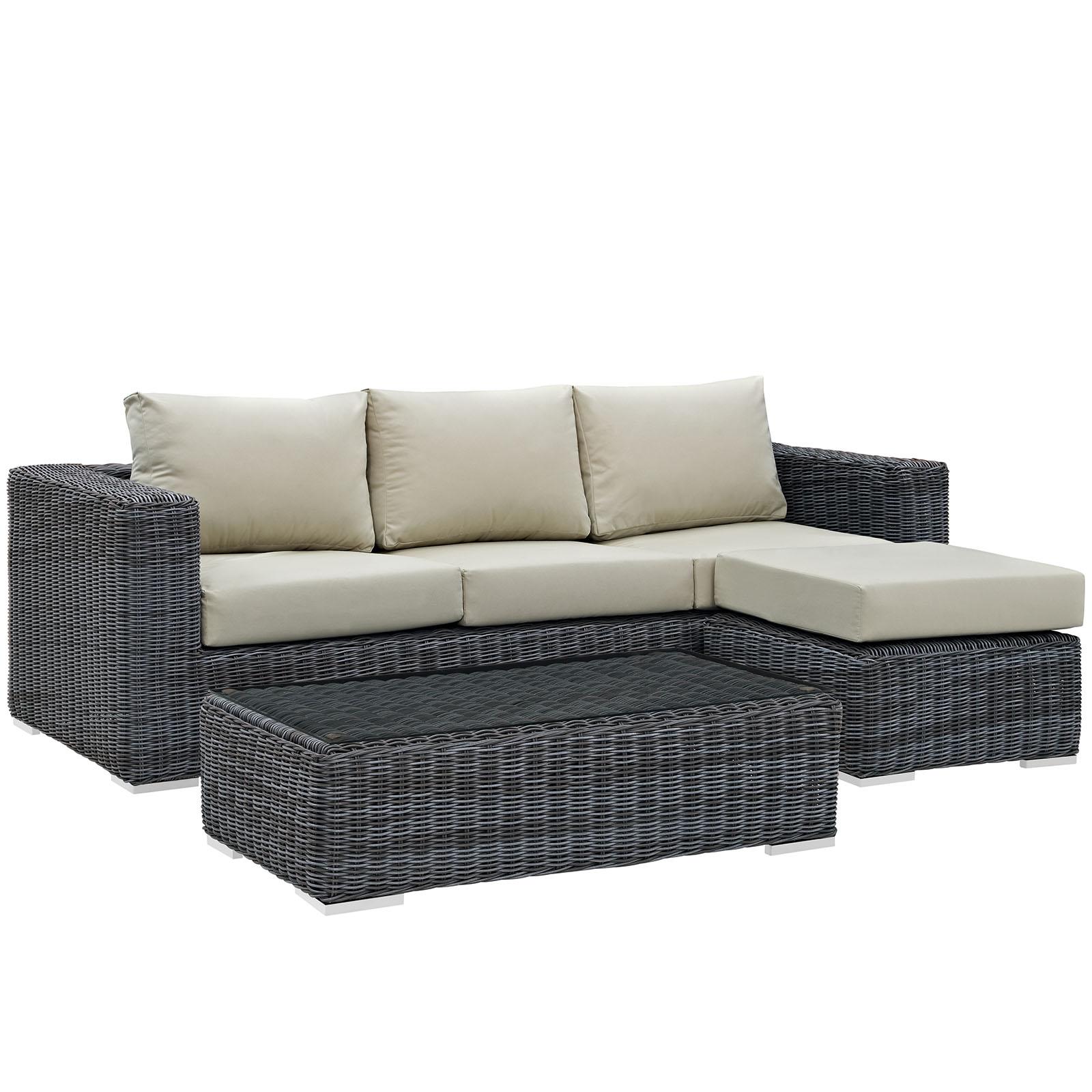 Modern Contemporary Urban Design Living Lounge Room Sectional Sofa Set, Beige, Rattan