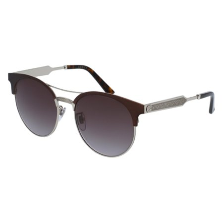 Gucci GG0075S Sunglasses 004 Burgundy/Grey/Gold / Grey Lens 56 (Gucci Sunglasses Lenses)