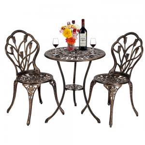 Wrought Iron Table and Chairs European Style Cast Aluminum Outdoor 3 Piece Tulip Bistro Set of Table and Chairs Bronze ()