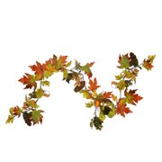 6' Autumn Harvest Mixed Fall Leaf, Berry Cluster and Gourd Artificial Thanksgiving Garland - Unlit