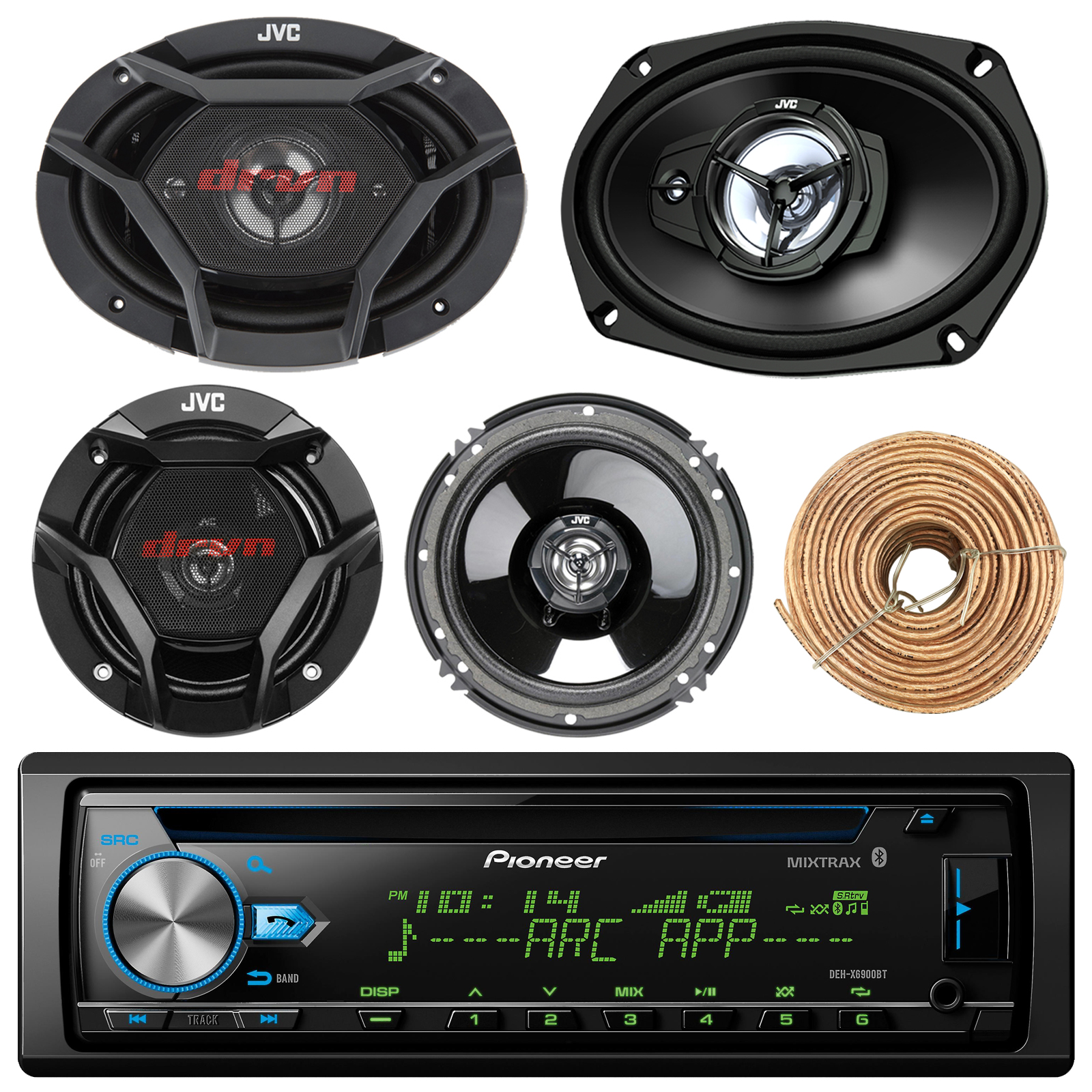 "Pioneer DEH-X6900BT Car CD Player Receiver Bluetooth USB AUX Radio - Bundle Combo With 2x JVC 6x9"" 3-Way Vehicle Coaxial Speakers + 2x 6.5"" Inch 2-Way Audio Speakers + Enrock 50 Ft 18G Speaker Wire"