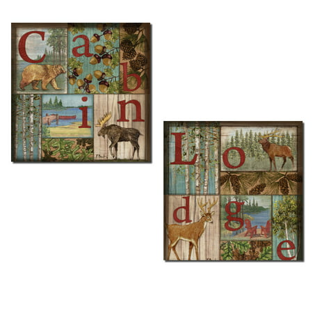 Cabin and Lodge Collage Style Moose Bear Deer Acorn and Pine Cone Prints; Two 12x12in Poster (Acorns Deer Like Best)