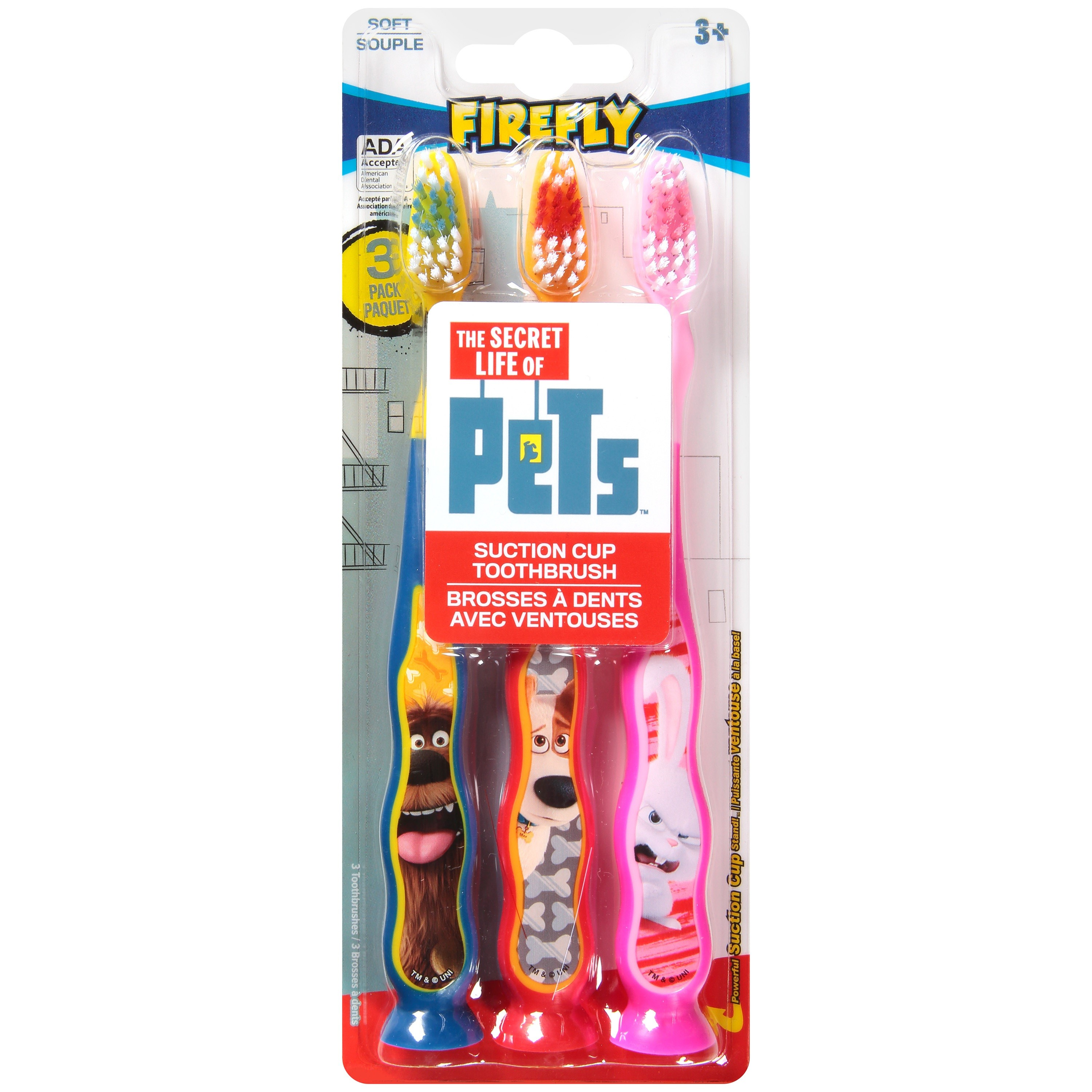 The Secret Life of Pets Suction Cup Soft Toothbrushes, 3 count (color may vary)