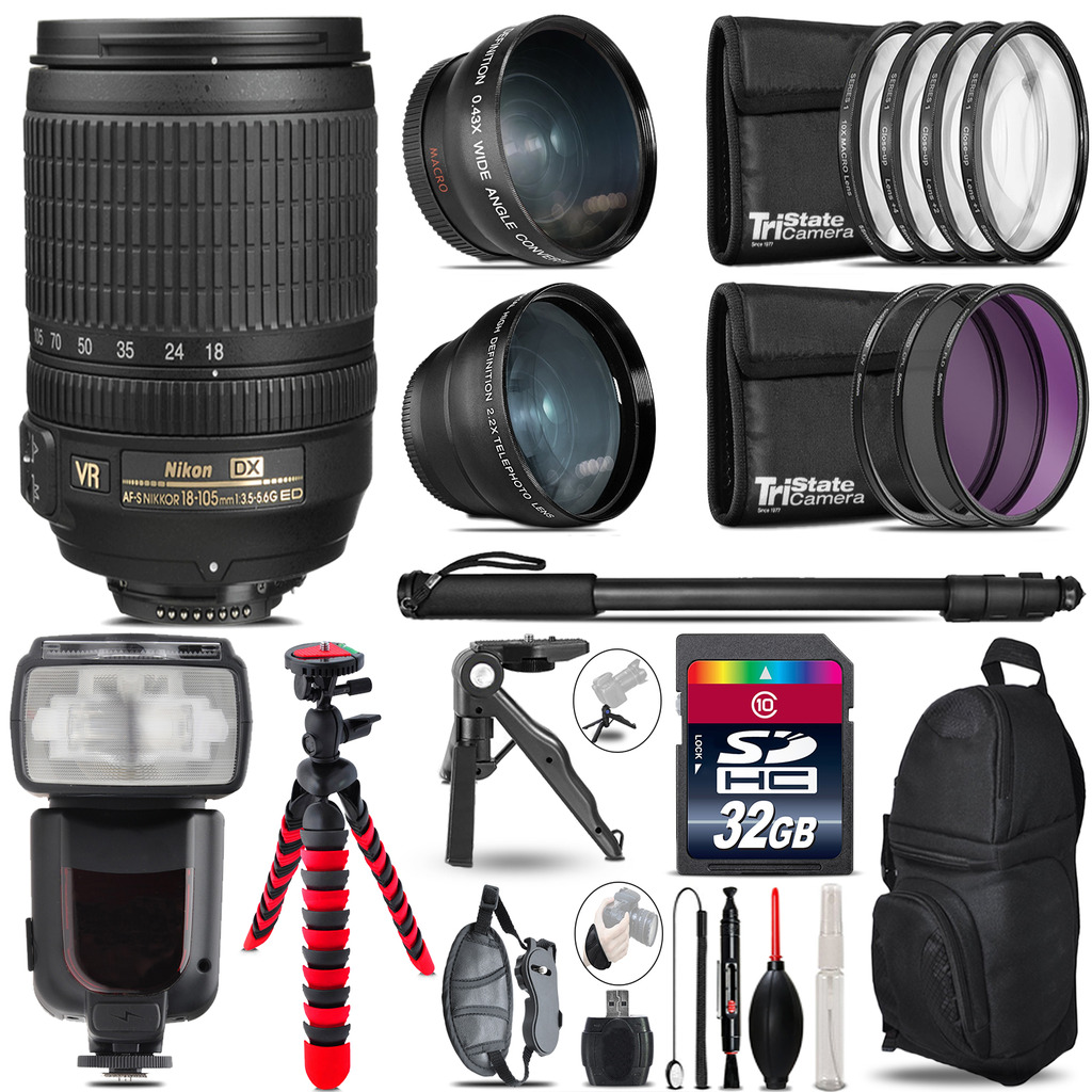 Nikon Dx 18 105mm Vr 3 Lens Kit Professional Flash 32gb Af S F 35 56g Ed Accessory Bundle