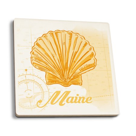 Maine - Scallop Shell - Yellow - Coastal Icon - Lantern Press Artwork (Set of 4 Ceramic Coasters - Cork-backed, Absorbent) (Maine Scallops)